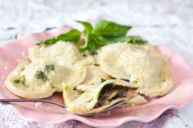 Prosciutto and Mushroom Ravioli Recipe, click for source