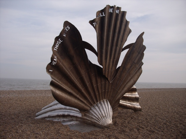Approached from the Thorpeness (north) side, the Scallop is said to look like a knight riding a charger.