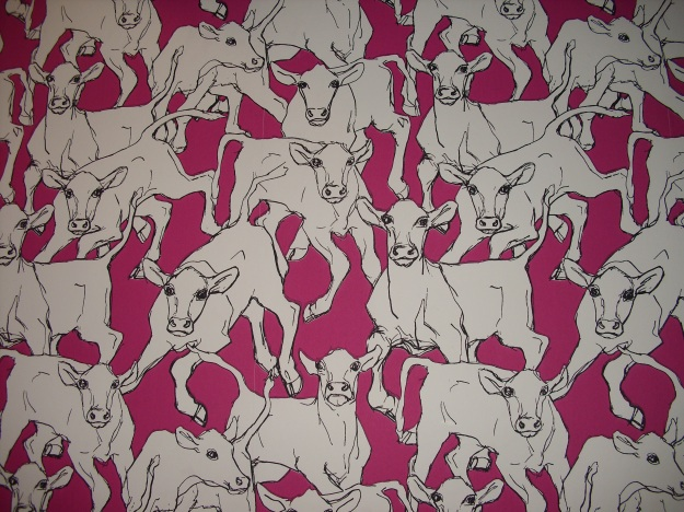 Utterly mad cow wallpaper found in The Crown Inn, Framlongham on the way home!