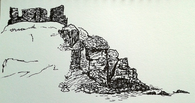 Drawing in progess - the ruins of the summer castle of the Lords of the Isles, Lagavulin Bay.