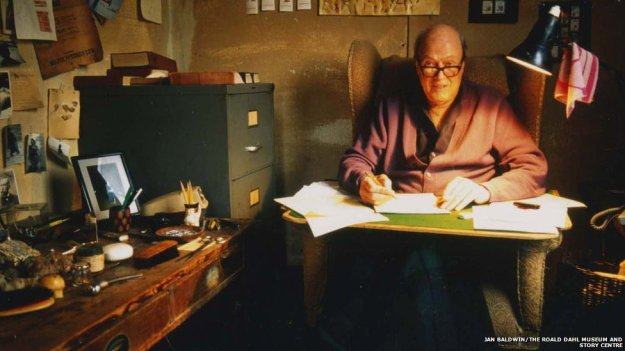 Roald Dahl in his writing hut.  From the CBBC website.
