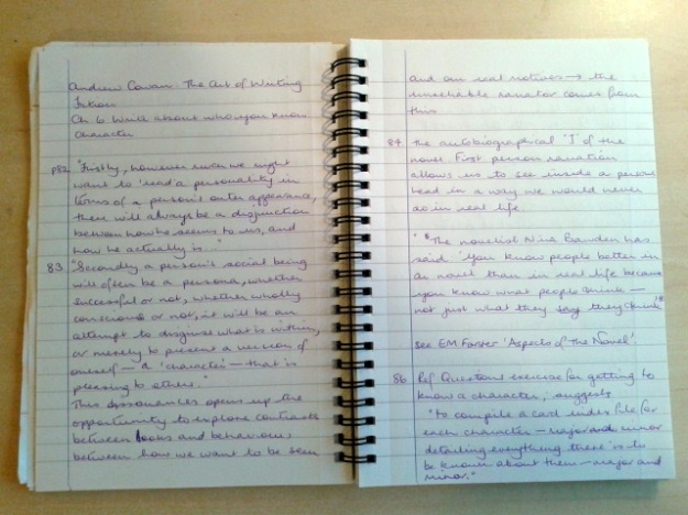Pages from my reading notebook.