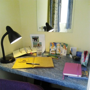 My desk at our 2015 writers retreat.