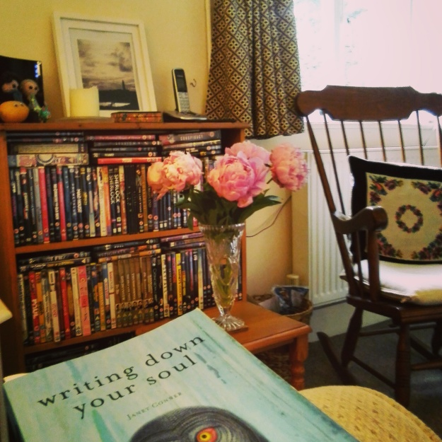 The View from my Reading Chair.  With peonies.  Please don't judge us for the DVD addiction.