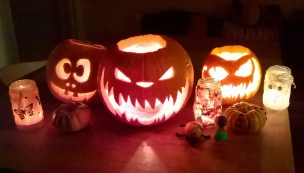 This year's haul of jack o' lanterns, carved by the Husband